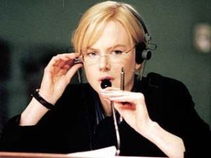 "Nicole Kidman in ""The Interpreter"" performing simultaneous interpreting Image credit www.rottentomatoes.com"