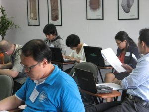 The participants working on a legal translation practice